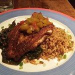 Blacken catfish, dirty rice, and greens.  So GOOODDDD.