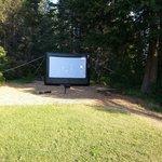 Outdoor movie Saturday nights.