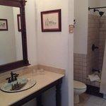el baño es amplio, cuanta con tina y los articulos de aseo personal excelente.