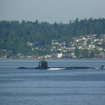 YES, that is a nuclear sub passing by my ferry!  Awesome!