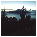 Early morning yoga with the amazing view of Paku hill