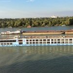 Lots of views of river cruises and barges.