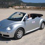 Our rented car, a Volkswagen Beetle Cabrio