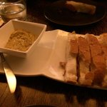 Bread with garlic and black olive dip