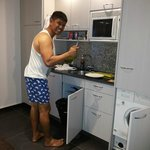 My husband doing his kitchen job