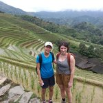 Rachel and freind at Rice terraces area.