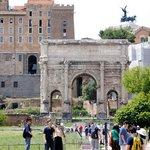 Exploring the Roman Forum on our city tour