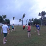 Playing volley ball