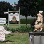 On the outskirts of Stratford, a pork business with its icons/mascots.