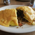 cutaway view of Phillip's Awesome Cheeseburger omelet