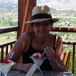 Me eating frozen yogurt in one of the tavernas near the plateauu