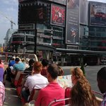 Panoramic of Dundas Square from bus