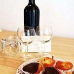 The local wine with home made cakes - welcome!