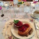 Baked pancake and fresh strawberries at Garden Gate B&B