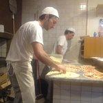 making pizza in Baffetto