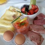 cheeses, meats and fresh fruit