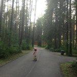 Daughter riding her bike.