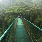 Up in the clouds on hanging bridge
