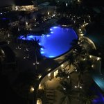 Pool view from balcony at night