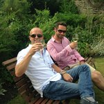 The boys enjoying a drink in the lovely gardens