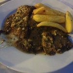 beef sifrito, with homemade chips.