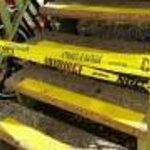 Caution tape on stairways