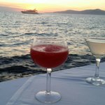 Mykonos port cocktails by the sea