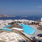 Pool area and the Aegean Sea at Vencia Hotel