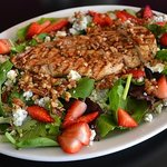 California Salad with grilled chicken, strawberries and blue cheese