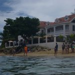 View of inn from water (probably the most crowded we saw that beach get!)