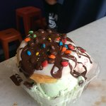 Ice cream filled donut - where else in the world could you find this.