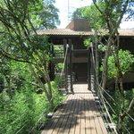 Puente colgante, acceso a las habitaciones