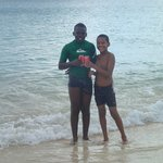 2 Antiguan Boys at Darkwood beach - they asked to borrow our snorkel gear - very nice kids