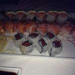 frontspicy tuna, tuna tuna salmon, & crispy shrimp salmon