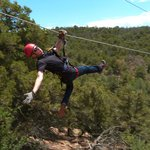 Stephen showing off on the Zip Line