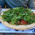 Mushroom, pancetta and rocket pizza