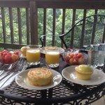 Delicious breakfast outside