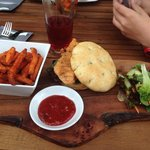 Delicious chicken and the bread roll was so tasty! As for the sweet potato fries-yum!
