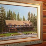 Painting of lodge inside restaurant