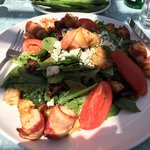 Scallop wrapped with bacon salad