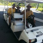 Riding in carts from location to location