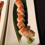 Salmon Sushi topped with salmon eggs