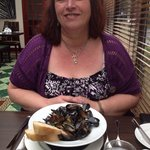 My wife delighted with her mussels starter