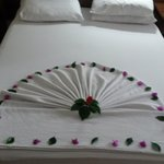 Hotel bed  made by maids