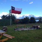 Bandeira do Chile asteada no hotel