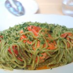 Green pasta with lobster - yum!