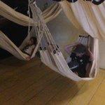 Kids testing the sleeping hammocks