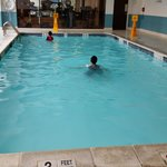 The pool on the 2nd floor. Fitness Center overlooks it. Pools is 3ft deep.