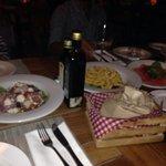 Antipasto: polpo all'insalata,calamari fritti,carpaccio di tonno