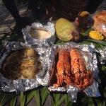 Fish/lobster/conch/crab/ beach bar b q